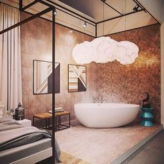 What a gorgeous chandelier over the tub, I absolutely love it! #chandelier #fabulous #hgtv #esthertracy #interiordesignideas #interiordesign #interiordesigner #followme