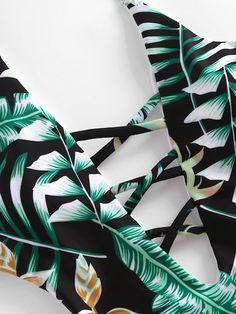 Monokini con estampado tropical con cuello pronunciado-Spanish  SheIn(Sheinside) Estampados Tropicales 115f19613c7