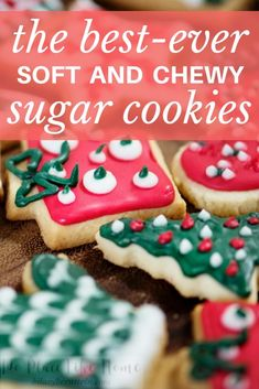 Looking for the perfect sugar cookie recipe? Look no further than these best-ever soft and chewy sugar cookies! Looking for the perfect sugar cookie recipe? Look no further than these best-ever soft and chewy sugar cookies! Betty Crocker Sugar Cookie Recipe, Rolled Sugar Cookie Recipe, Christmas Sugar Cookie Recipe, Sugar Cookie Icing, Sugar Cookies Recipe, Best Sugar Cookie Recipe For Decorating, Christmas Dessert Recipes, Roll Out Sugar Cookies, Cream Cheese Sugar Cookies