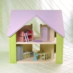 Once Upon A TreeHouse | Handmade wooden Custom Cottage dollhouse with lavender roof & light green sides $250.00