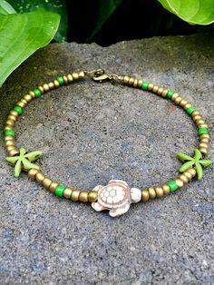 Plage cheville tortue bracelet de cheville cheville perles