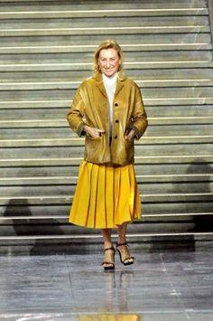 Miuccia Prada #AW14 #PFW #Apostolicfashion #modestfashion #modestdress #tzniutfashion #classicdress #formaldress #kosherfashion #apostolicclothing