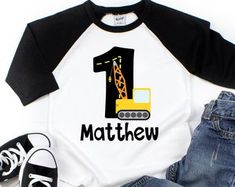 Boys Construction Birthday Shirt - Construction Shirt Boys - Boys - Boys Truck Shirt - First Birthday Shirt - Personalized Birthday Shi Boys First Birthday Shirt, Baseball Birthday, Girl Birthday, Sibling Shirts, Boys Shirts, Construction Birthday Shirt, Personalized Birthday Shirts, First Birthdays, Boy Outfits