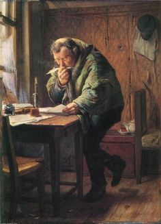 The Clerk, oil on canvas, 1884, by Firs Sergeevich Zhuravlev, Russian realist artist, 1836-1901. State Art Museum of Uzbekistan in Central Asia. A deceptively detailed painting of a genre subject from the decaying wallpaper and the bits of paper beneath the old table to the torn cushion on the chair and the visible breath of the clerk in the cold room.