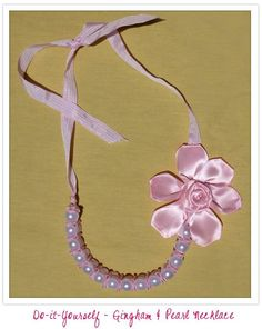 DIY - Gingham and Pearl Necklace