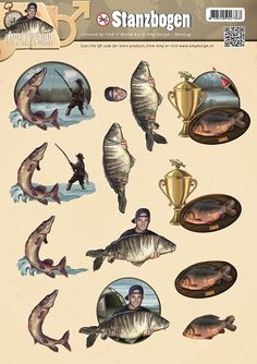 Find It Trading Amy Design Punchout Sheet-It's A Man's World Fishing Image Stitching, Image 3d, Cardmaking And Papercraft, Scan And Cut, Its A Mans World, Paper Craft Supplies, 3d Cards, Decoupage Paper, Man Birthday