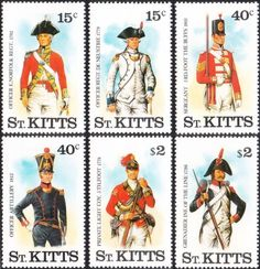 Saint Kitts stamps printed by the Format International Security Printers. St Kitts, Saints, Princess Zelda, Military Uniforms, Baseball Cards, Stamps, Fictional Characters, Art, Seals