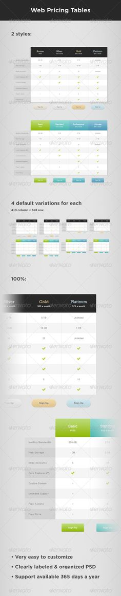 #Web Pricing #Tables - Tables Web #Elements Download here: https://graphicriver.net/item/web-pricing-tables/510844?ref=alena994
