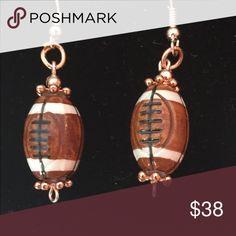 PM glazed porcelain, rose-gold fishhook earrings Pazley Monkey designed porcelain football w rose gold fish-hook earrings pazley monkey Jewelry Earrings
