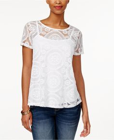 Charter Club Short-Sleeve Lace Top, Only at Macy's - Tops - Women - Macy's