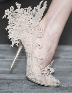 Valentino Couture Lace Shoes - It looks like the wedding dress from the Hunger Games in shoe form.