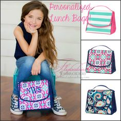 Personalized Lunch Bag ~ Personalized Lunch Tote by FlybabiesEmbroidery on Etsy