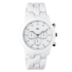 Bold men's inspired women's white watch with sparkle.