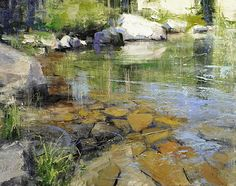 Mountain Swimming Hole by Mike Wise, Oil, 16 x 20 Abstract Landscape Painting, Watercolor Landscape, Landscape Art, Landscape Paintings, Landscape Photography, Water Art, Landscape Quilts, Watercolor Artwork, Beautiful Paintings