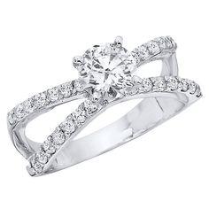 1.30 CT.T.W. Split Shank Diamond Engagement Ring in 14K White Gold (H-I, I1) - Sam's Club