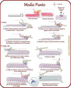 Punto bajo (single crochet in US terms) Crochet Cord, Love Crochet, Vintage Crochet, Single Crochet, Crochet Symbols, Crochet Stitches Patterns, Crochet Designs, Crochet Diagram, Crochet Motif