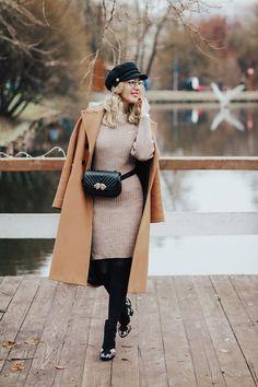 Тренд осени – поясная сумка belt_bag_fall_trend_autumn_outfit_camel_coat_floral_print_shoes_knit_dress