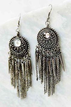 Spike + Chain Drop Earring- Silver One