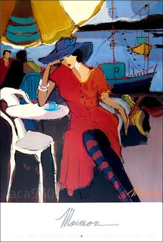 """Isaac MAIMON Fashionable Sitting Lady Poster Art 36"""" x 24"""" #Expressionism"""