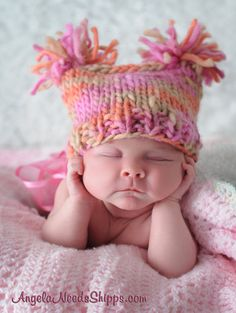 Little Bo Pink Chunky PomPom hat for baby by Knitbysarah on Etsy, $15.00