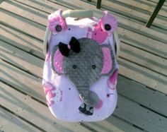 Girls Appliqued Fitted Elephant Car Seat Canopy With by lindasnd The Babys, Baby Carrier Cover, Peek A Boo, Baby Necessities, Elephant Nursery, Baby Shower, Everything Baby, Trendy Baby, Baby Accessories