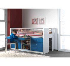 hoogslaper jeugdbed slaapkamer kinderbed stapelbed uitschuif bureau blauw kinderkamer kopen bed