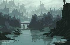 Landscape Concept, Fantasy Landscape, Landscape Art, Fantasy City, Fantasy World, Sunken City, Fantasy Concept Art, Fantasy Setting, Abstract Nature