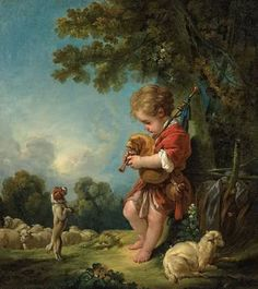 1754-- Shepherd boy playing bagpipes, too darling!