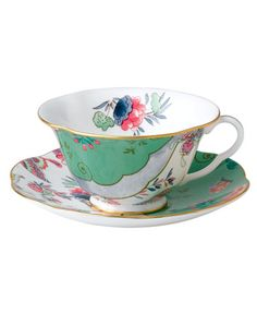 Your table, in bloom. This Butterfly Posy cup and saucer from Wedgwood offers a…