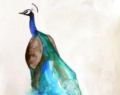 SALE 15% Off - Peacock Art - Bird Art Watercolor - Peacock - Large Print 16x20 - Poster. $72.25, via Etsy.