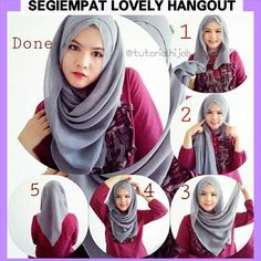 Hijab tutorial using a square scarf. Before step 1, fold the square scarf into half.