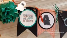 BANNERMANIA: banner for all seasons. Season 1 of 5: Halloween!!!  Highlighting Mingle All The Way stamp set from Stampin' Up. See my blog to learn how to make this banner or get your KIT TO GO!  From papermadeprettier (Kay Cogbill)