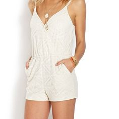 Ivory Lace Romper Beautiful ivory crochet lace romper. In perfect condition. Worn 1 time. No rips, no stains, no odors. Light and easy, romper features a crochet overlay and slanted front pockets. Complete with an elasticized waist and adjustable spaghetti straps. A snap keeps the front closed for modest coverage.  Fully lined Shell: 67% cotton, 33% polyester; Lining: 60% cotton, 40% polyester Forever 21 Pants Jumpsuits & Rompers