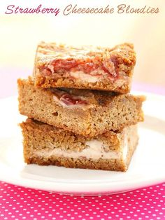 Strawberry Cheesecake Blondies - The easy way to satisfy your cheesecake craving!