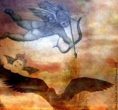 """Photography and poetry: """"O meu Amor é o meu peso"""", Photo credits by Helena Simões da Costa © 2016, in Lisboa. Esta imagem resulta da fusão entre uma pintura e uma fotografia, ambas da minha autoria. No meu artigo de hoje poesia, música e pensamentos de filósofos, no blog do Arlindo). Some of my photographic work here: http://helenasimoesdacosta.wix.com/helencostafotografia #sky #clouds #angels #painting"""
