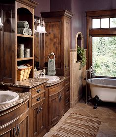 Love these bathroom sinks and cabinets!