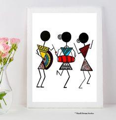 Warli Art Warli prints indian folk art prints home dec or Art Painting, Worli Painting, Tribal Art, Mandala Design Art, Indian Folk Art, African Art Paintings, Tribal Art Drawings, Tribal Art Designs, Etsy Art Prints