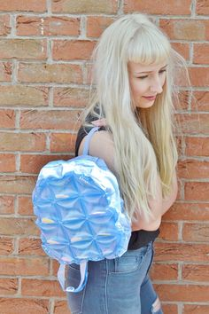 Blue 90s Star Confetti Flower Floral Club Kid See Through Clear Plastic Blow Up Inflatable Pastel Kawaii Bubble Bag Rucksack Backpack