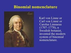 Binomial Nomenclature EM Branches Of Biology, Linnaeus, Ems, Inventions