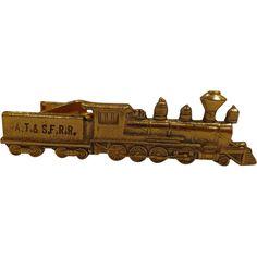 Rare Employee Railroad Tie Clip A.T. & S.F. RR Santa Fe Locomotive Train Tie Bar