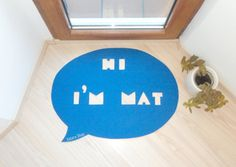 Funny home decor rug. Speech bubble shape Hi I'm Mat by Xatara