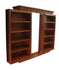 Sliding secret bookcase door; put in front of closet for hidden room---this is it!!!