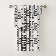 #Black White Interlocking Maze Pattern Bath Towels - #Bathroom #Accessories #home #living