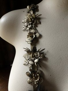12 Beaded Faux Leather Flower Appliques  in Gold  for Bridal Design, Shoe Clips, Headbands, Costumes TR 254