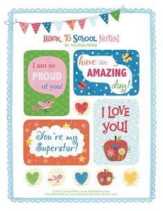 Free printable lunchbox notes from illustrator Julissa Mora