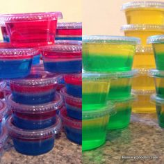 July = Jello Shots.  Layered Jello Shots with Pics and Recipes
