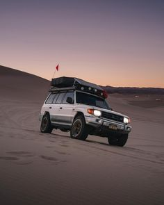 PRO-TIP: A top heavy overland machine is not ideal for blasting around steep angles inclines. But damn was it sketch-city fun!… Travel California Mitsubishi montero overlanding rig off-road roof top tent camping sand dunes Dumont Dunes, Off Roaders, Mitsubishi Pajero, Roof Top Tent, Camper Conversion, California Travel, Car Photos, Tent Camping, Outlander