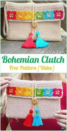 Crochet Bohemian Clutch Free Pattern [Video] - Crochet Clutch Bag