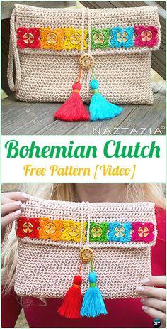 Crochet Bohemian Clutch Free Pattern [Video] - Crochet Clutch Bag & Purse Free Pattern