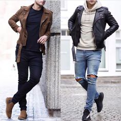 Royal Fashionsit is the best Men's Fashion Guide. Here you will find the latest trends on men's style. Get inspired with these outfits and leave your comment below. Stylish Men, Men Casual, Leather Jacket Outfits, Casual Outfits, Fashion Outfits, Men's Fashion, Herren Outfit, Mens Style Guide, Best Mens Fashion
